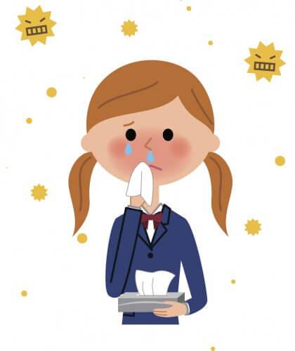 スギ花粉による鼻炎の症状が重い女子の高校生